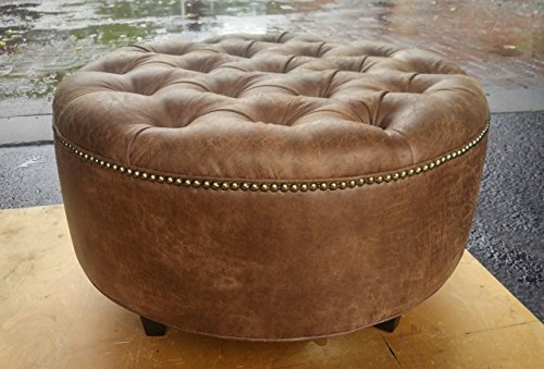 """30"""" Distressed Vegan Leather, Tufted Coffee Table Ottoman"""