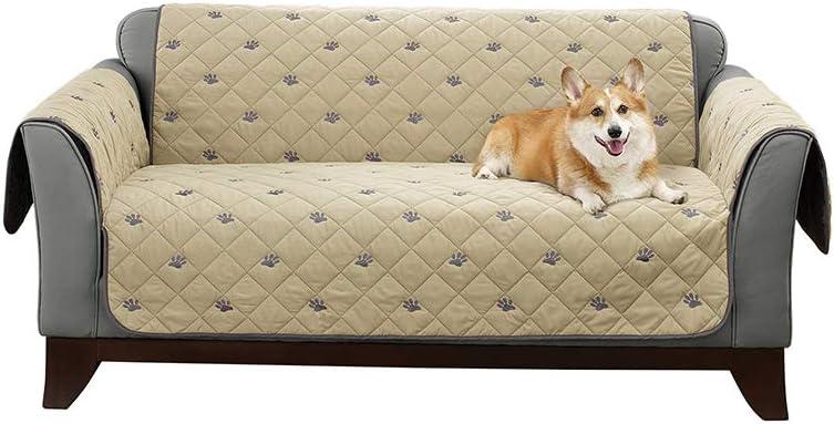 SureFitDeluxe Polyester Non-Slip Loveseat Furniture Cover, Tan