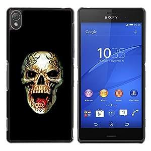 Be-Star Único Patrón Plástico Duro Fundas Cover Cubre Hard Case Cover Para Sony Xperia Z3 D6603 / D6633 / D6643 / D6653 / D6616 ( Metal Death Rock Roll Black Skull )