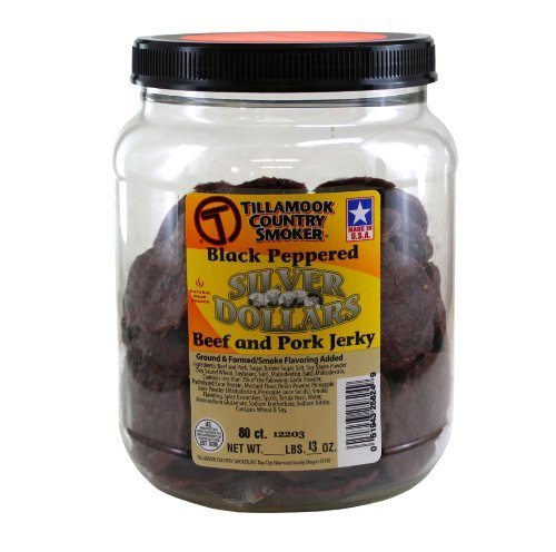 (TILLAMOOK Silver Dollars - Beef & Pork Jerky (Peppered),13oz 80ct by Tillamook)