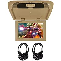 Rockville RVD17HD-BG BEIGE TAN 17 Flip Down Car Monitor + Wireless Headphones