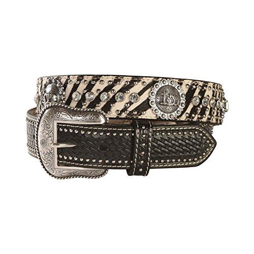 M & F Western Men's Zebra Print Hair-On-Hide Cowboy Prayer Concho Belt (Hide Concho)