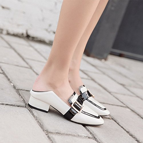 GIY Womens Fashion Square Toe Penny Loafers Pumps Buckle Slip-On Block Heel Classic Dress Loafer Shoes Black-white R4Rv4bblz