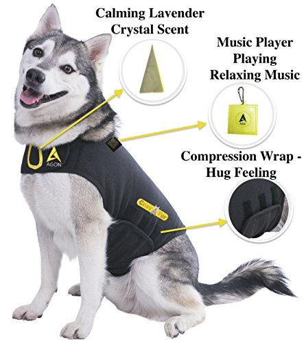CozyFur Patent Pending Canine Anti Anxiety Vest Calming Music & Lavender Essential Oil Scent Treats Dog Stress Aggression Fear FireWorks Thunder Separation Shirt Jacket Coat Relief (XS (8-14 Lbs))