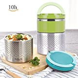 HOMESPON Vacuum Thermos Lunch Box Stainless Steel Food Jar 2 Layers Insulated Food Container 52 OZ, Green