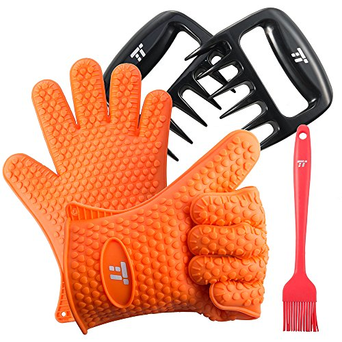 BBQ Gloves Heat Resistant, TaoTronics Meat Shredder Silicone and BBQ Brush, Grill Accessories, Perfect for Shredding Smoked Meat & Pulled Pork, Dishwasher Safe, FDA Approved by TaoTronics