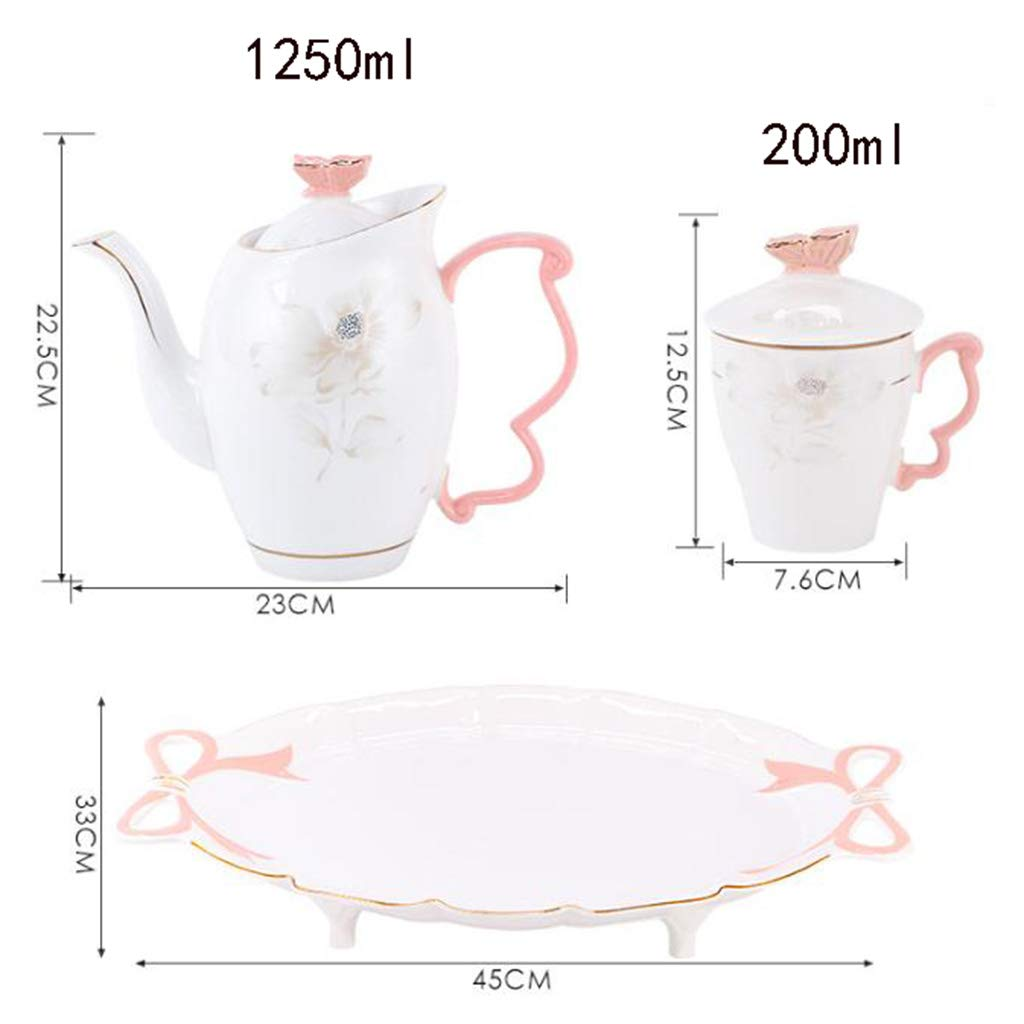 CSQ Coffee Cup, Ceramic Living Room Tea Set Teapot Set Simple Clubhouse Teapot Capacity: 1250ml Afternoon Tea (Color : White) by Tea set-CSQ (Image #2)