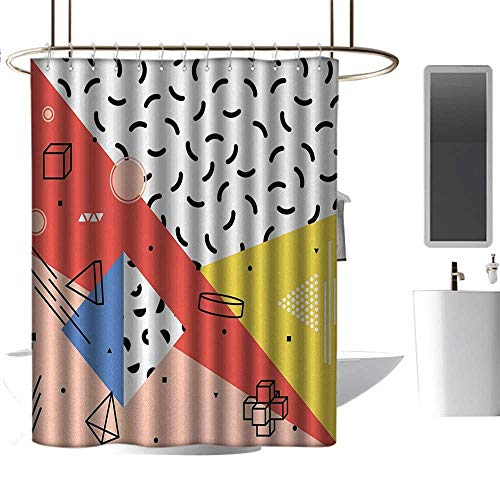 Qenuan Colorful Shower Curtain Abstract,Modern Geometric Trippy Figures Triangles Cubes Circles Rollers Dots Artful Print,Multicolor,Metal Rust Proof Grommets Bathroom Curtain 36