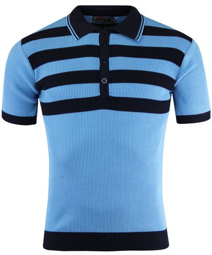 1960s Style Men's Clothing, 70s Men's Fashion Terry Retro 60s Mod Ribbed Polo Shirt With Chest Stripes SKY £39.99 AT vintagedancer.com