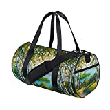 Oil Painting Vintage Ocean Sea Mountain Forest Sports Gym Shoulder Handy Duffel Bags for Women Men Kids Boys Girls