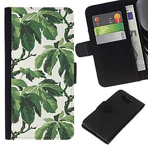 Stuss Case / Funda Carcasa PU de Cuero - ?rbol del Verano Hojas Modelo del papel pintado - Samsung ALPHA G850