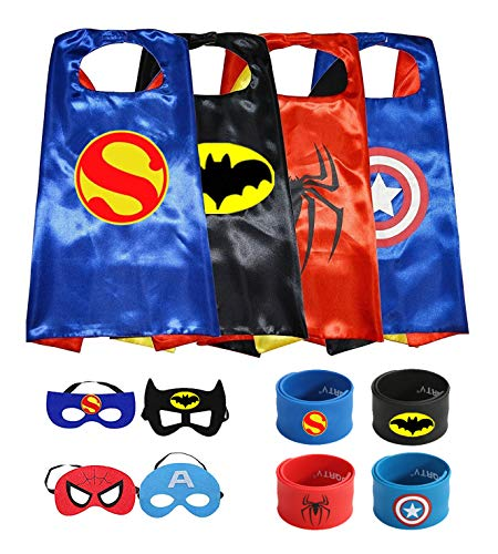 Munfa Superheros Cape and Mask Costumes 4 Set Includes Bonus Matching Wristbands for Kids (Multicolored) (Multicolored) (Boy, Multicolored) -