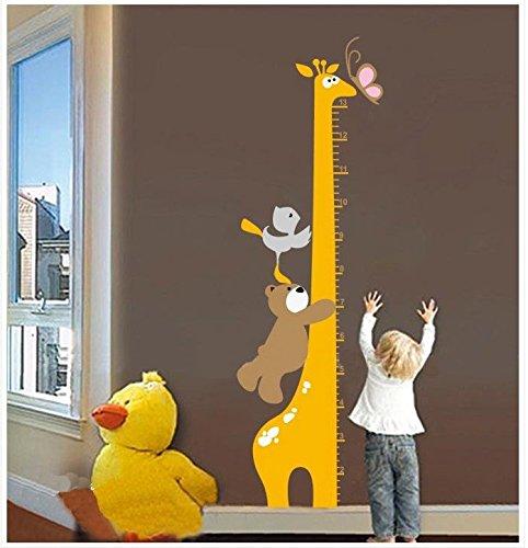 New Cartoon Giraffe Bear Children Kid Growth Height Chart Removable Wall Sticker - Giraffe Growth Chart