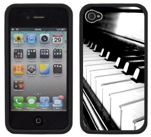 Piano | Fait à la main | iPhone 4 4s | Etui Housse noir