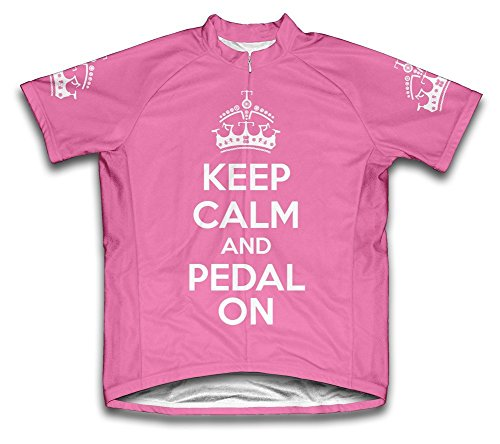 Scudo Keep Calm and Pedal On Microfiber Short-Sleeved Ladies' Cycling Jersey, Pink, XL