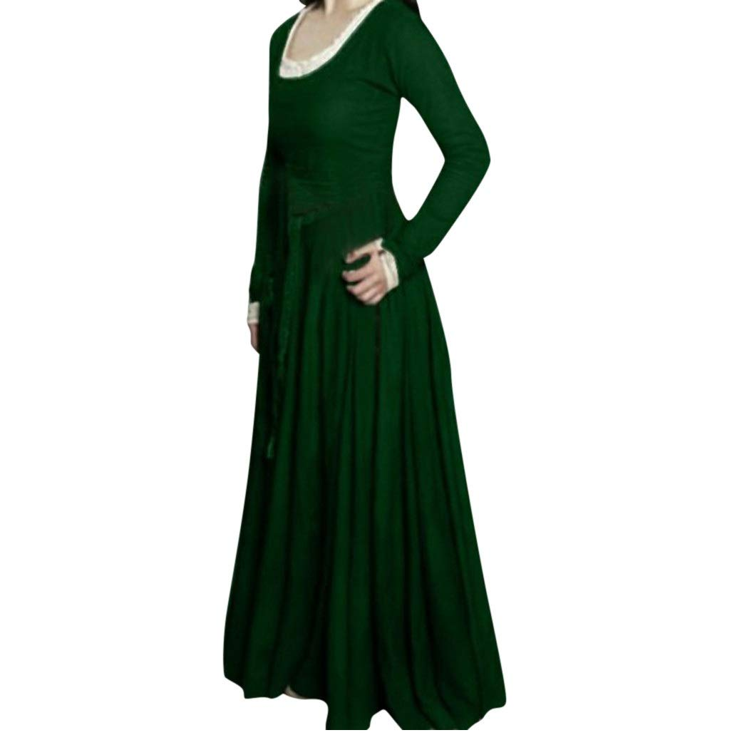 Nmch Plus Size Dress for Women Vintga Long Sleeve Solid Loose Casual Long Dress Cos Play Fashion Dresses(Green,XXXL)