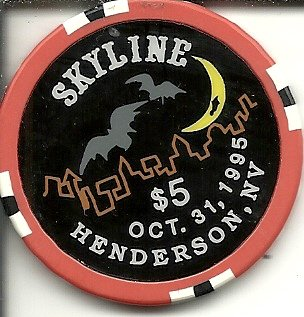 $5 skyline halloween 1995 casino chip henderson nevada obsolete