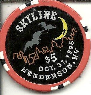 $5 skyline halloween 1995 casino chip henderson nevada