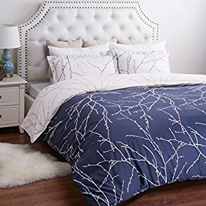 Bedsure Ultra-Soft Microfiber Printed Duvet Cover Set Queen, Navy Branch & Plum
