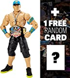 John Cena w/ Hat, Dog Tags, & US Title: WWE Elite Collection Action Figure Series + 1 FREE Official WWE Trading Card Bundle