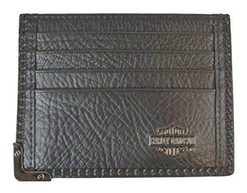 s Gunmetal Leather Front Pocket Wallet, Black GM6563L-BLK ()