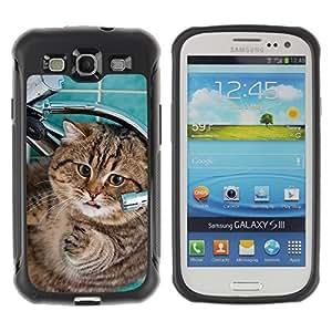 ZETECH CASES / Samsung Galaxy S3 I9300 / FAT HOUSE CAT AMERICAN SHORTHAIR FUNNY / grasa casa gato americano shorthair divertido / Robusto Caso Carcaso Billetera Shell Armor Funda Case Cover Slim Arm