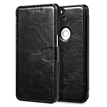 Nexus 6P Case, Benuo [Built-in Slots Series] [Magnetic Snap] Classic Genuine Leather Case, Flip Cover [2 Card Slots] [Ultra Protective] with Personality Design for (Huawei) Google Nexus 6P (Black)