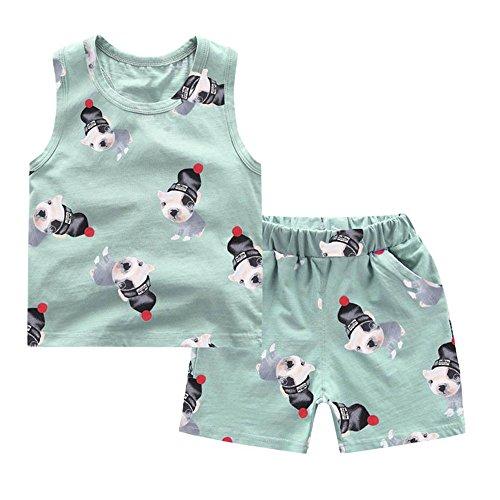 9f81b51f005b6 Nuevo FYX 2 Pcs Camiseta sin Manga Algodón Infantil + Pantalones Cortos Camiseta  Casual para Bebé
