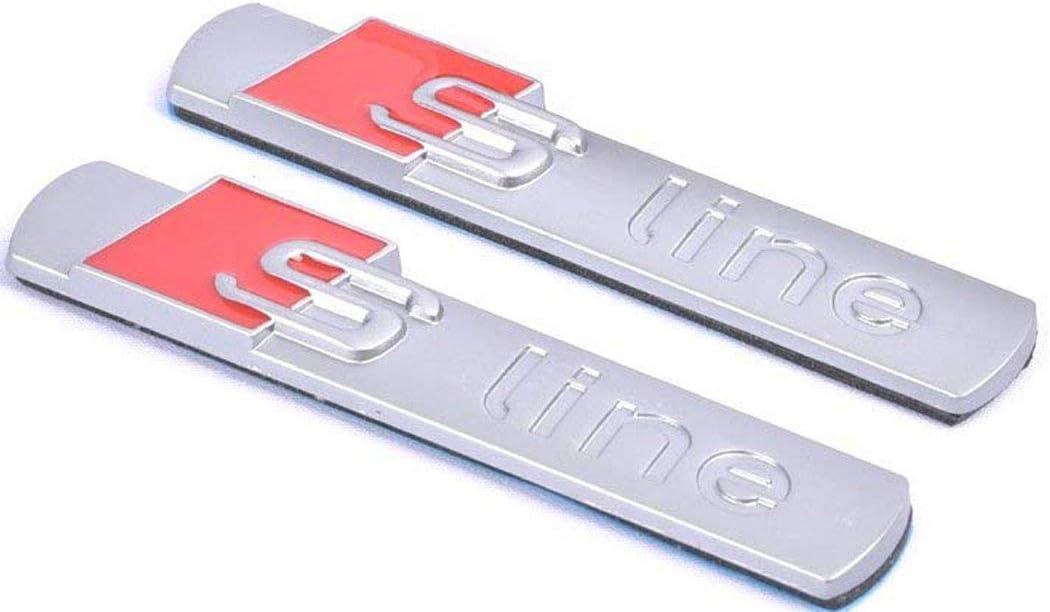 Silver 2pcs Sline Quattro Supercharged Emblem Badge Chrome Blade Side Fender Sticker for Audi Series A4 A6 A8 Q5 Q7 Tt Logo
