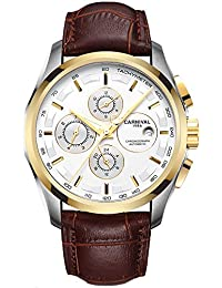 Mens 25 Jewels Automatic Sapphire Mirror Transparent Back Cover 24 Hours Calendar Brown Calfskin Watches