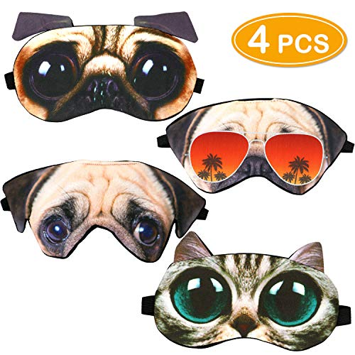 Onshine 3D Cat Dog Sleeping Mask 4 Pack Cute Animal Cartoon Sleep Mask Soft Plush Blindfold Travel Nap Night Eye Cover Sleep Mask Eye Mask for Girls Kids
