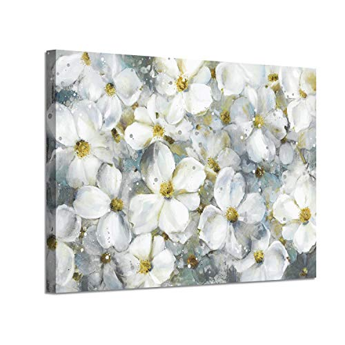 Flower Abstract Art Floral Picture: White Botanical Gold Foil Artwork Painting on Canvas (36'' x 24'') for Walls