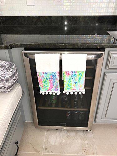 Watercolor Catch the Wave Kitchen Pom Pom Towel Set made w Lilly Pulitzer fabric bath powder