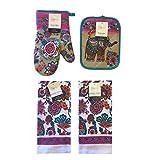 Mainstays Spring and Summer Kitchen Towels, Oven Mitt, and Potholder 4 Piece Bundle Set (Mumbai Elephant)