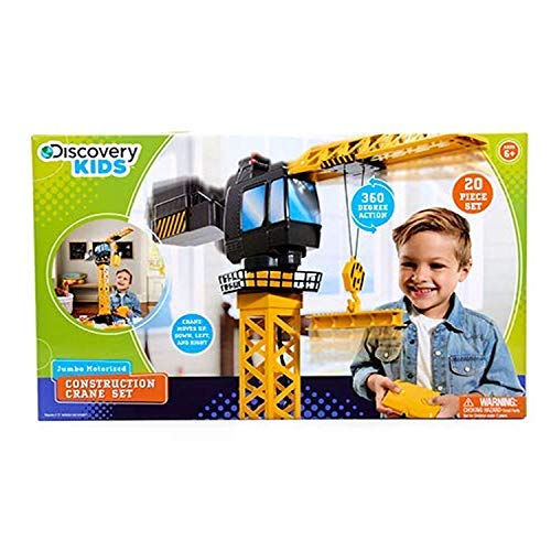 Discovery Kids Remote Control Crane Tower - Construction Playset 20 Pieces - Ages 6+