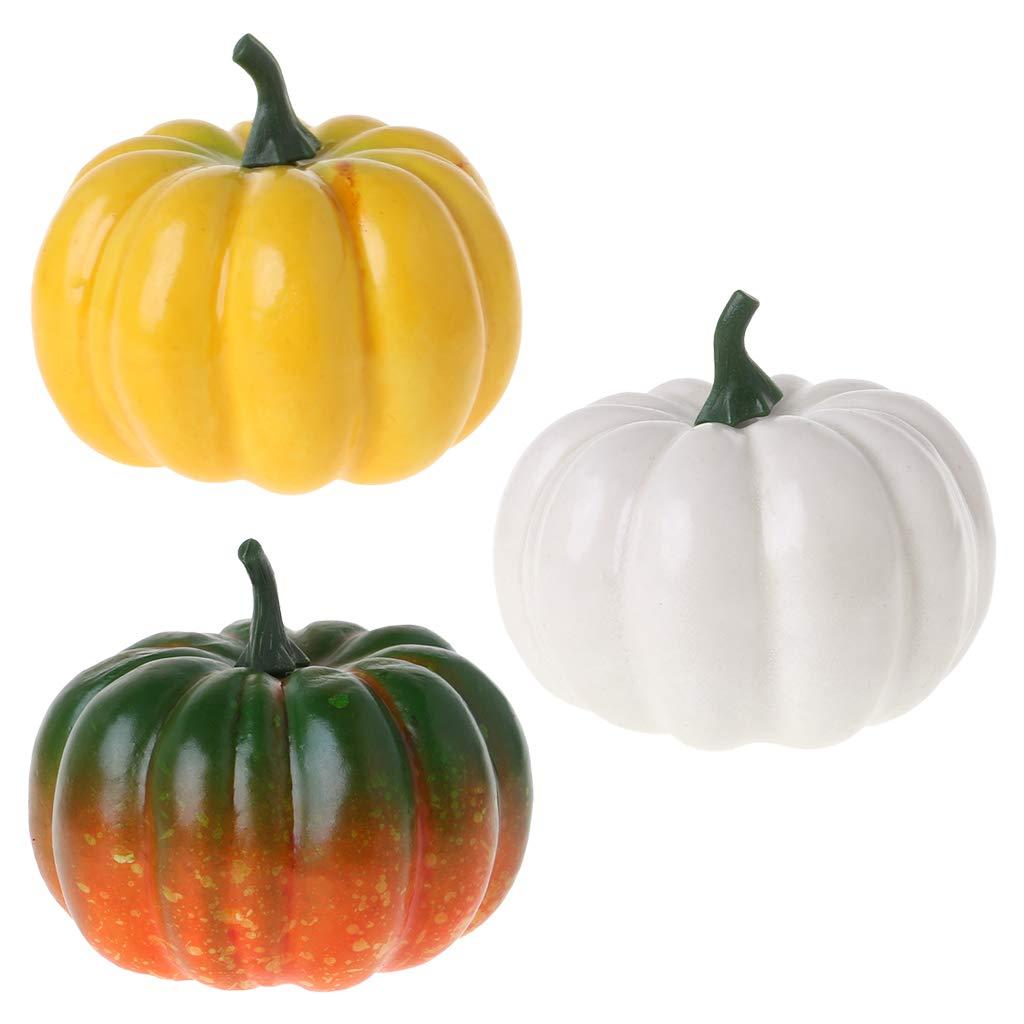 d/écoration de f/ête Thanksgiving Pennyninis bricolage blanc Petite citrouille artificielle r/éaliste pour Halloween r/écolte dautomne