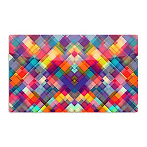 """KESS InHouse Danny Ivan """"Squares Everywhere"""" Rainbow Shapes Artistic Aluminum Magnet, 2"""" by 3"""", Multicolor"""