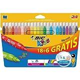 Bic Kids Kid Couleur Feutres ultra lavable Couleurs assorties 18+6 Gratuits