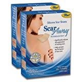 "ScarAway VALUE PACK- 2 Packs of 12 Professional Silicone Scar Treatment Sheets (3"" x 1.5"" ea.) 24 Total Scar Patches - FREE Storage Case Included! - Works great on Raised or discolored Scars and Keloids."