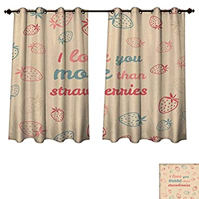 RuppertTextile I Love You More Blackout Curtains Panels for Bedroom Fun Quote and Pastel Backdrop with Valentines Strawberry Room Darkening Curtains Sand Brown Coral Slate Blue