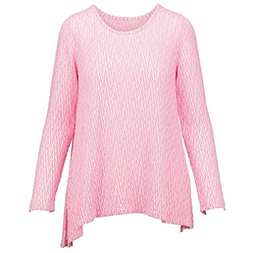 Chelsea & Theodore Womens Long Sleeved Lightweight Textured Knit Tunic Top (Large, - Pink Chelsea