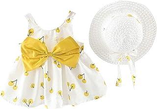 Mounter Bébé Fille Vêtements Bébé Fille 2pcs Robes De Princesse, Robes De Princesse Cerise sans Manches+Bow Hat Ensembles 3-24 Mois