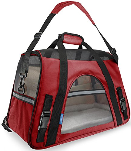 Ventilated Security Pet Dog Cat Carrier Backpacks Travel Lightweight Stylish In Red Color