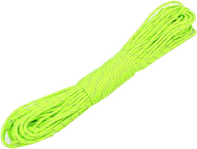 100feet 4mm Reflective Utility Cord,High Strength Hi-Vis Less Stretch Reflective Paracord Rope for Guyline Tent Tarp Hammock Rigging Outdoor Camping Drawstring Bracelet Braiding and General Use