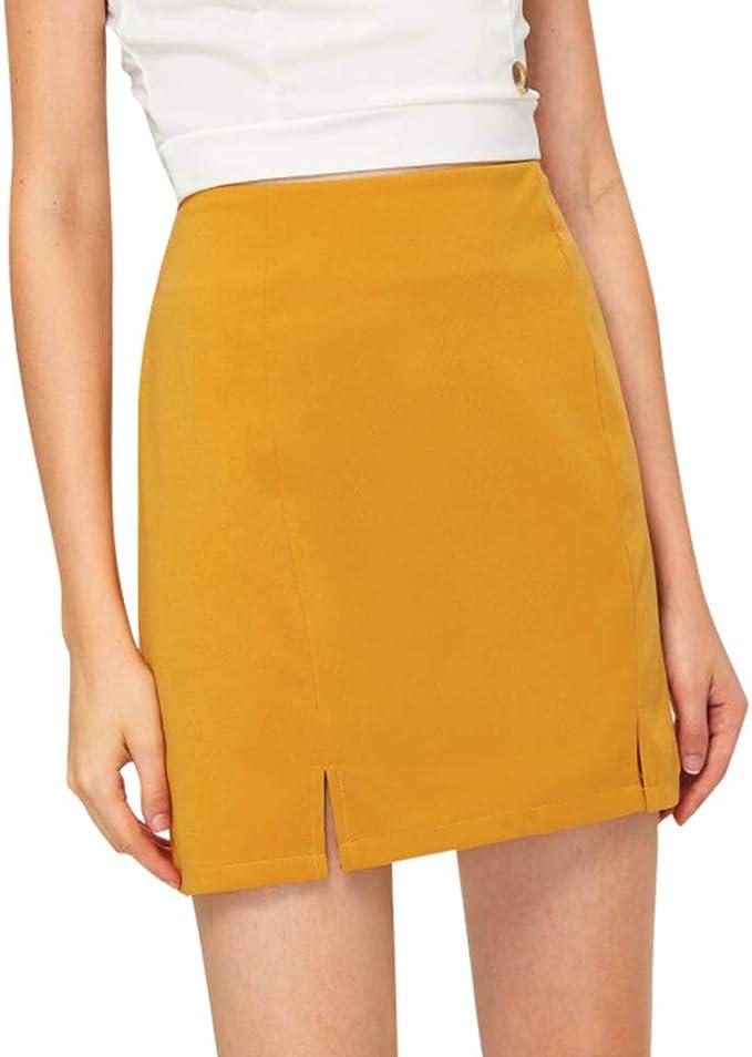 beautyjourney Minifalda Bodycon para Mujer Falda Corta de Cintura ...
