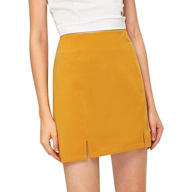 R-GABI Falda Amarilla de Cintura Alta para niñas, cómoda por ...