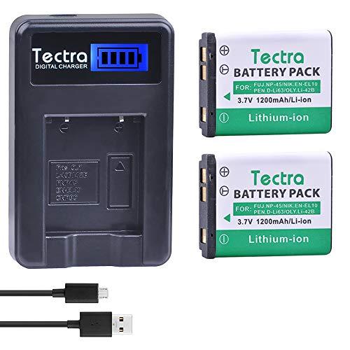 Tectra 2Pcs 1200mAh Battery + LCD USB Charger for Li-40B/Li-42B/Fuji NP-45/NP-45A/Nikon EN-EL10/Pentax D-Li63/D-Li108 Battery Nikon Coolpix S4000 s210 s220 s205 s230 s570 Fuji Finepix XP90 SLR Camera