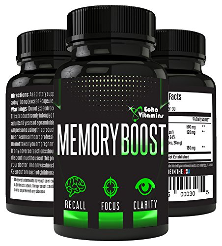 Echo Vitamins Memory Boosting Brain Supplement for Focus, Energy, Memory- Mental Performance Formulated Brain Booster with Super Ginkgo Biloba 30 Capsules by Echo Vitamins