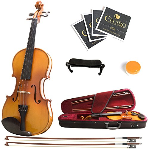 Mendini 3/4 MV400 Ebony Fitted Solid Wood Violin with Hard Case, Shoulder Rest, Bow, Rosin, Extra Bridge and Strings by Mendini