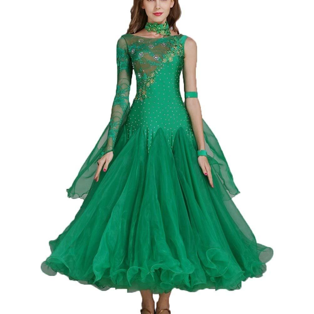 社交ダンスドレス用女性モダンダンスコンペティションドレスワルツグレートスイングスカートパフォーマンス衣装 グリーン XXL